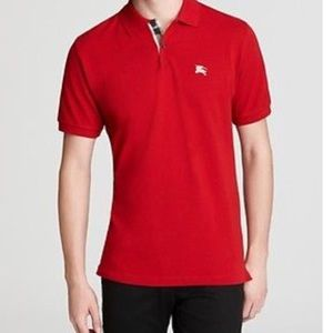 Red Burberry Brit polo shirt!